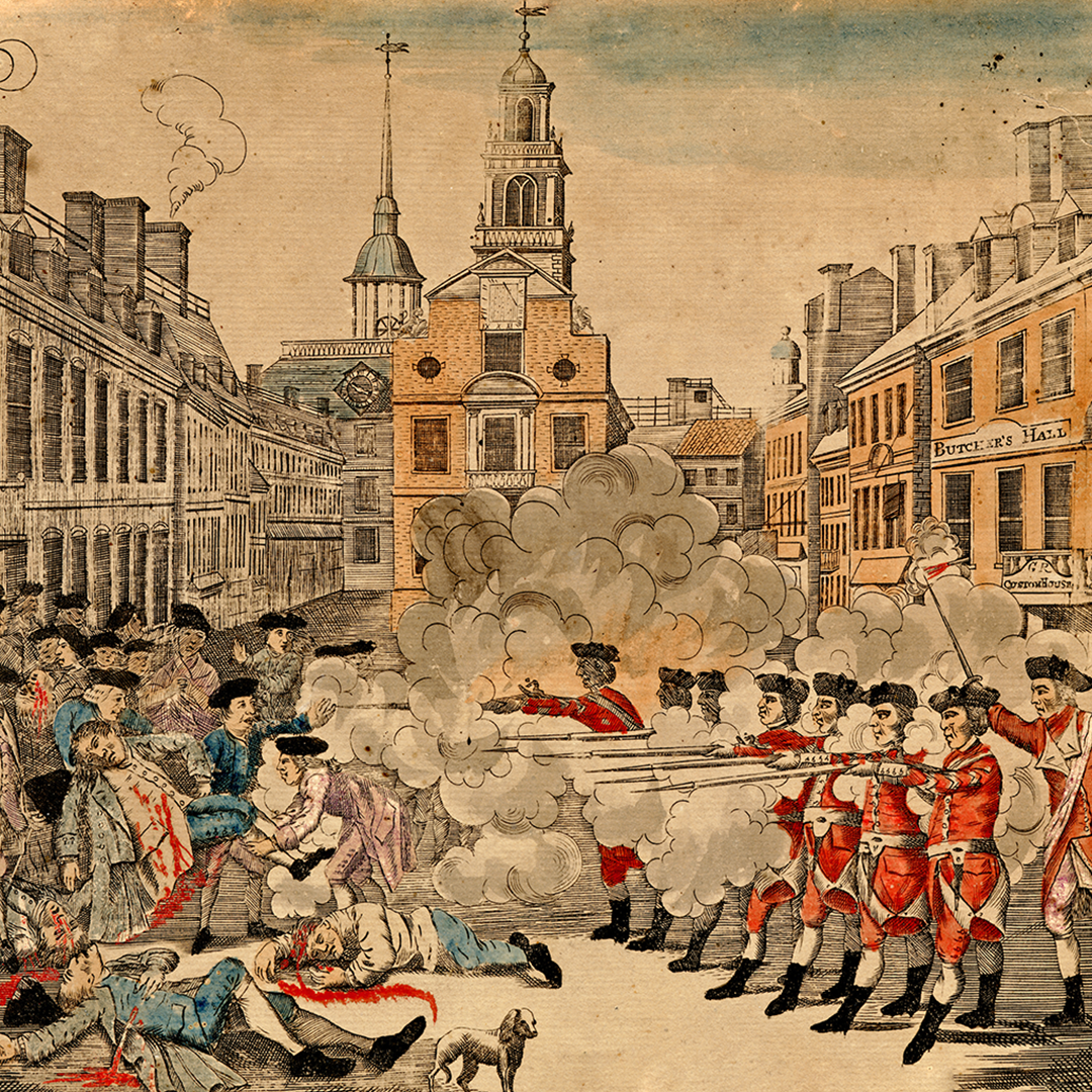 The Paul Revere engraving of the Boston Massacre.