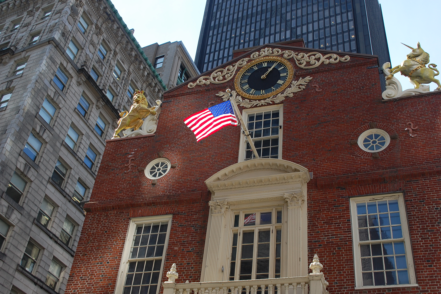 The American flag flying at the Old State House.
