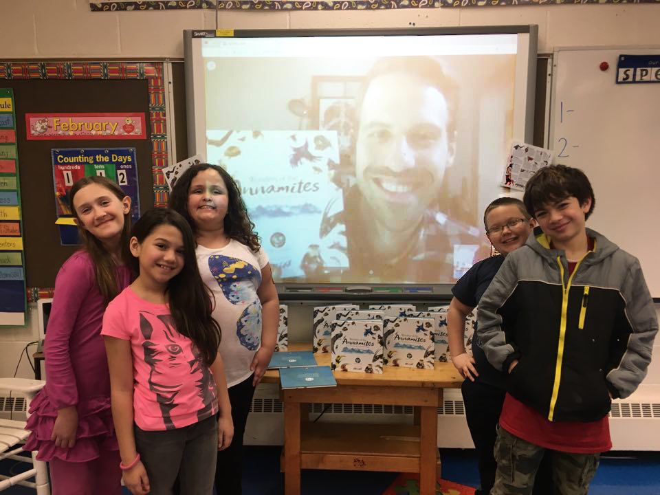 Author-illustrator Skype visit at Friendsville Elementary School in Maryland.