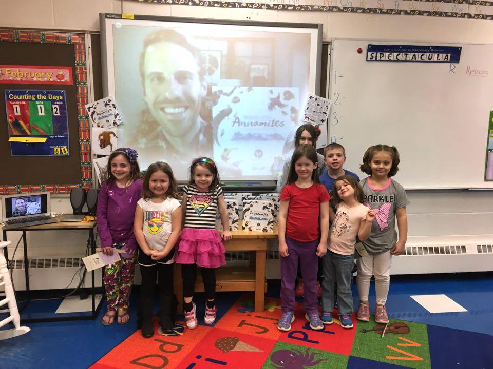 Author-illustrator Skype visit at Friendsville Elementary School in Maryland.
