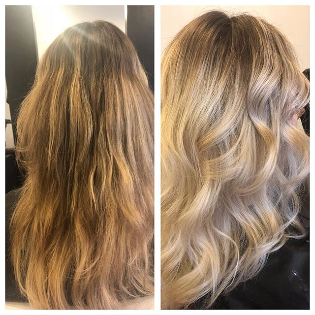 Happy New Year! Gold to blonde #milkshakeusa #musesalon #balayage #goldtoash #southhadleyhair