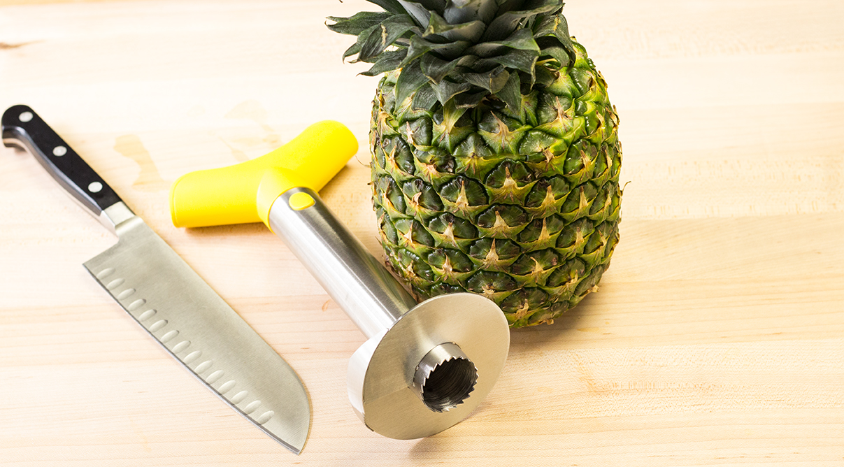 Tools to core a whole pineapple