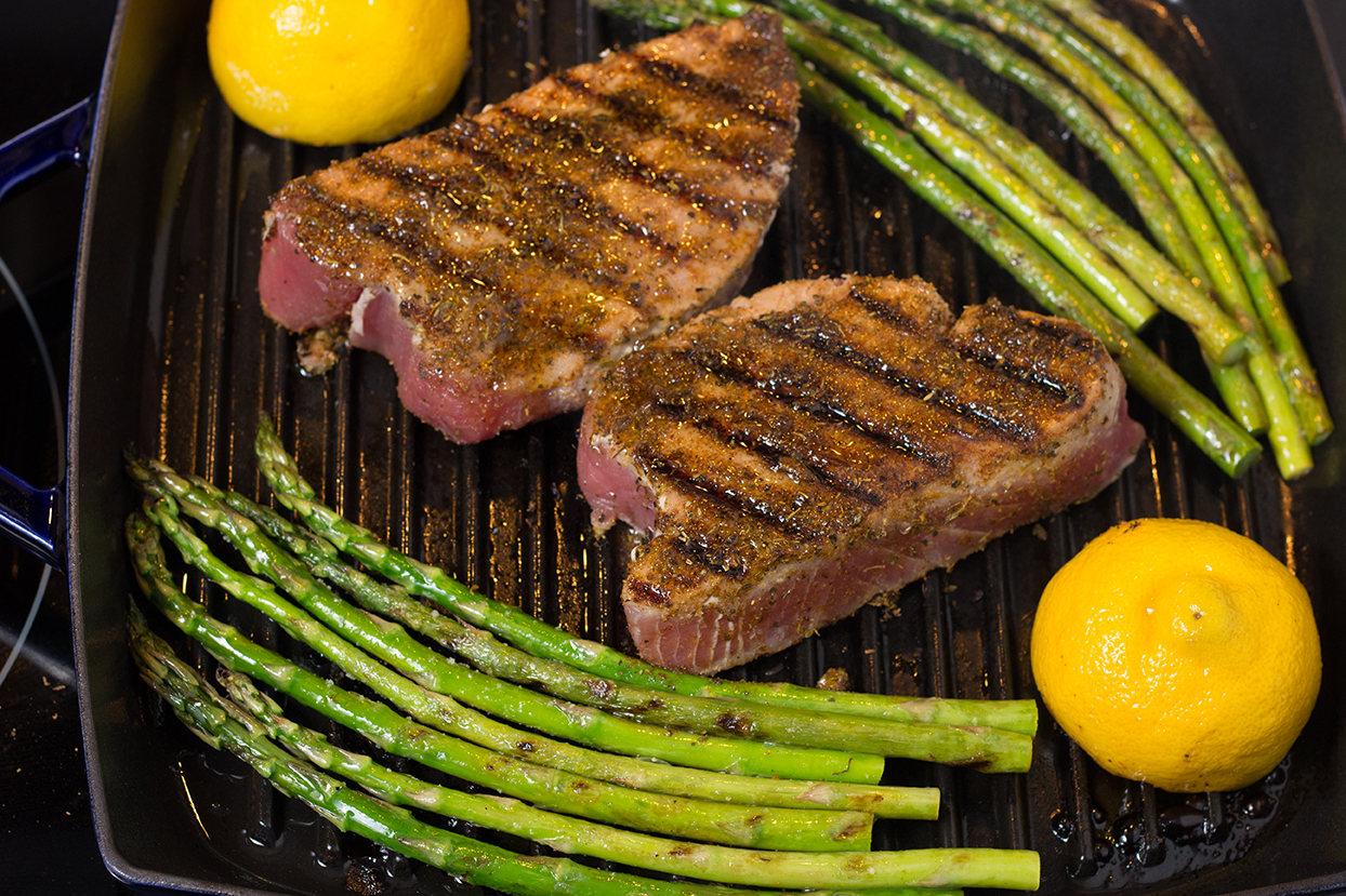 Grill steaks for TWO minutes on one side.  Turn them over and cook for TWO minutes.