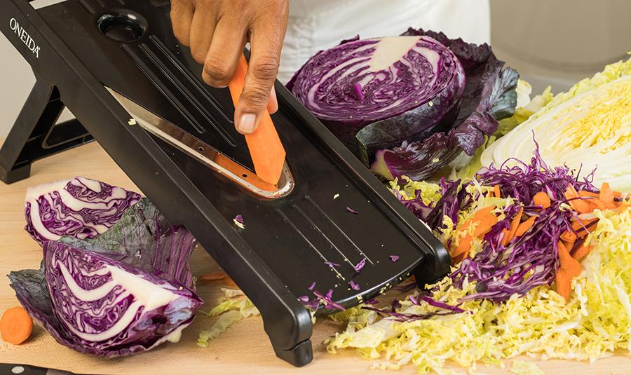 Using a mandoline, a food processor or sharp knife, shred all vegetables.