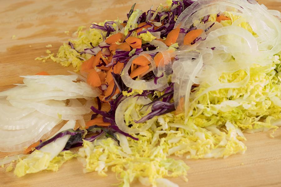 Shredded vegetables.
