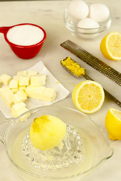 Ingredients: lemon zest & juice, sugar, butter and eggs