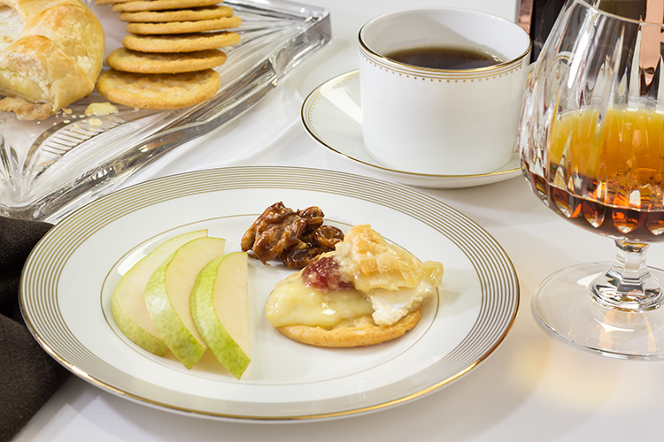 Ginger sugar walnuts, green anjou pears and raspberry baked brie on a cracker