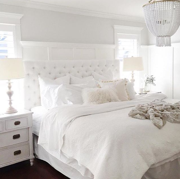 Varied textures to create a dreamy white bedroom   source
