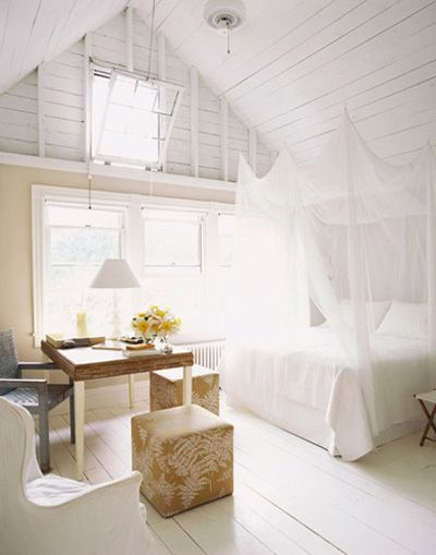 Dreamy white bedroom with flooded natural light from Pinterest