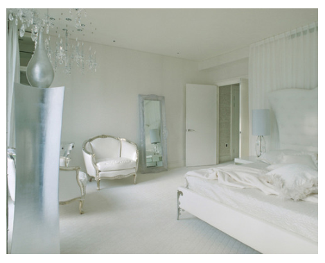 Modern Bedroom of dreamy whites with classical elements