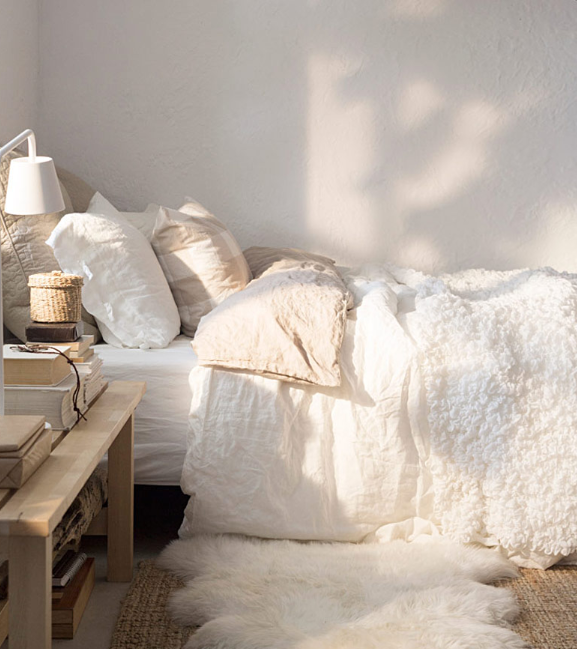 Dreamy white and natural color bedroom varied textures from Ikea   source