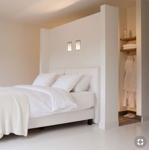 Dreamy white bedroom with varying hues of white   source