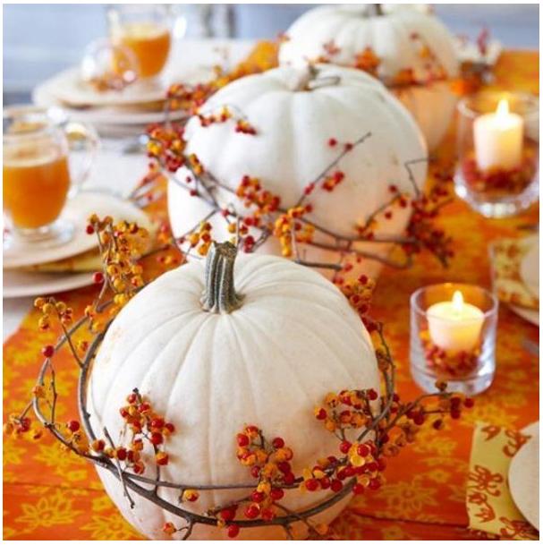 white pumpkin centerpieces with orange   source