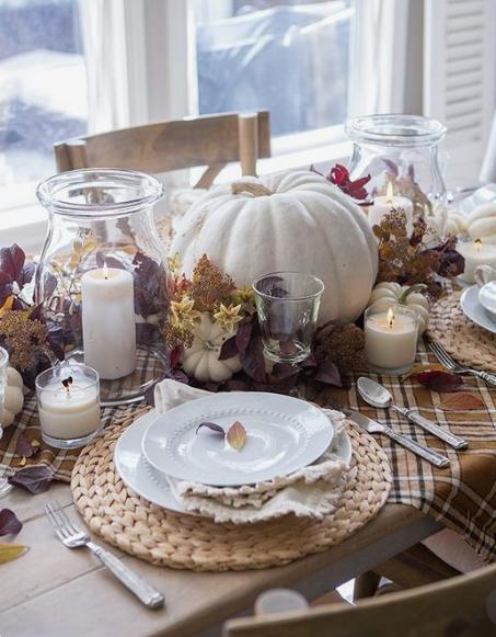 White pumpkin centerpiece   source