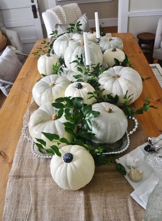 White pumpkins fall centerpiece   source