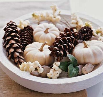 White pumpkins in bowl centerpiece   source