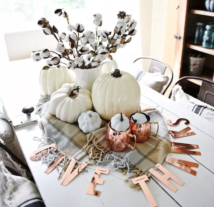 white pumpkin thnksgiving centerpiece   source