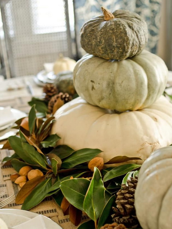 White pumpkin fall centerpiece   source