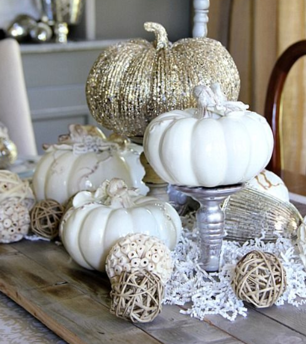 White and silver pumpkin fall centerpiece   source