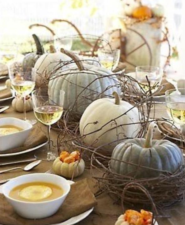 White and bluish pumpkins fall centerpiece   source
