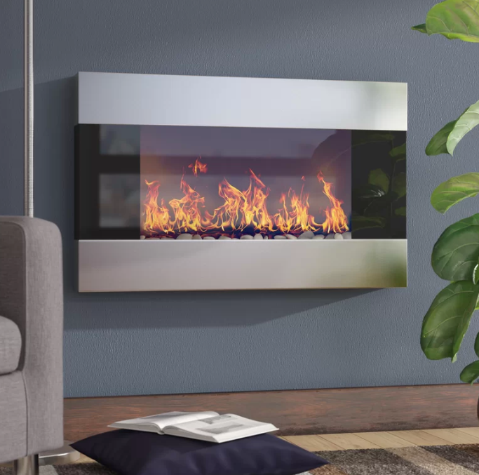 Electric wall mounted fireplace. For details, see   Wayfair.com