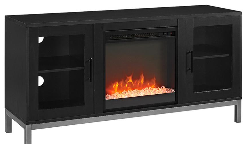 Electric fireplace with glass crystals media console from   Home Depot