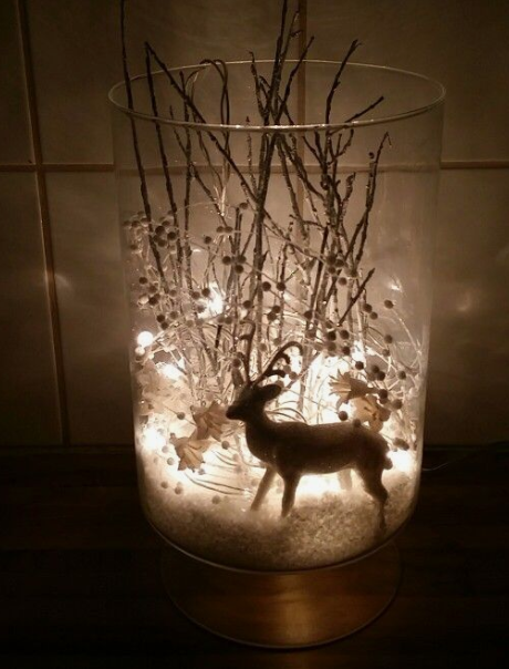 "Christmas reindeer vignette   image source     From the designer "" I took a vase, fake snow, a white glimmer reindeer, some silver tree branches, and some white pearl and flower decorations and some white christmas lights and made a winter wonderland to brighten up the dark days we are having here in Iceland"""