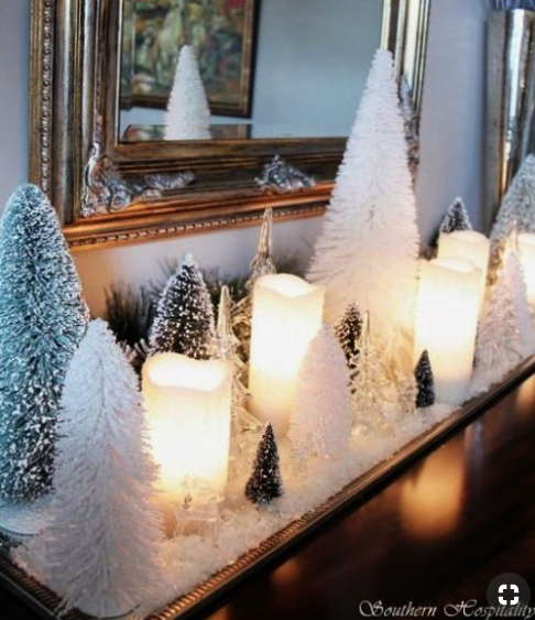 Christmas vignette with trees and candles   source