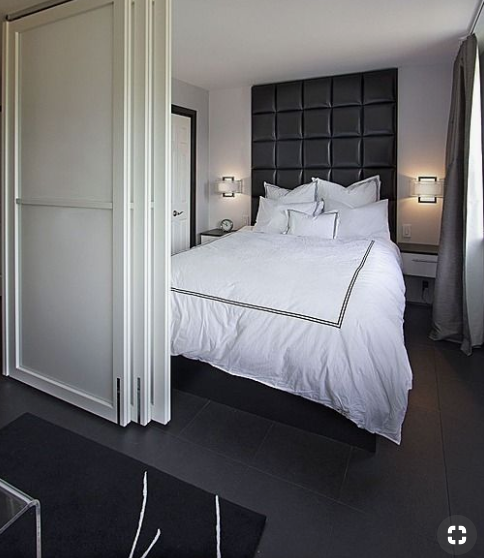 Sliding doors give bedroom privacy   source