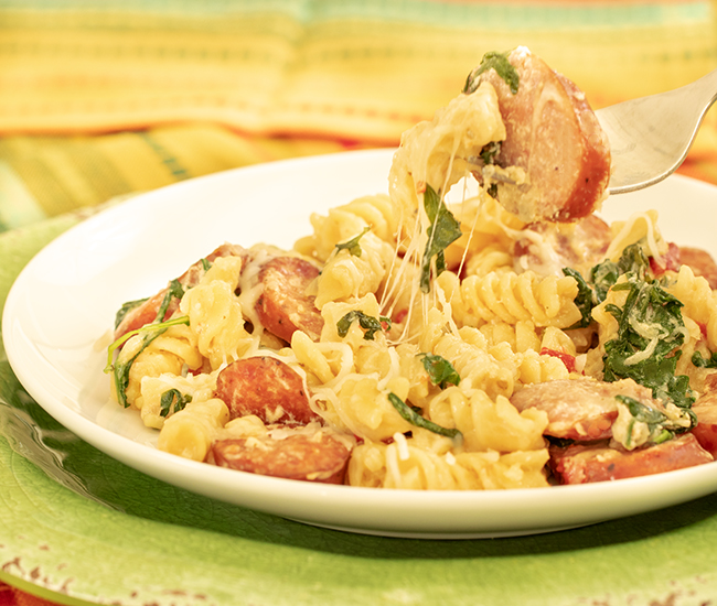 Close up of kiolbassa sausage and pasta