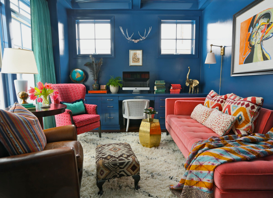 Blue wall living room by Summer Thornton Design Inc on   Houzz