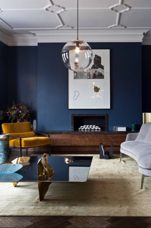Blue wall living room by 151 Sloane Avenue on   Houzz