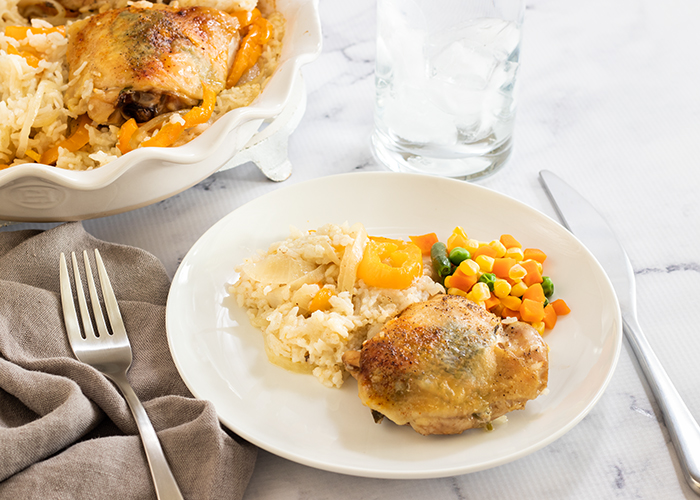 Baked Tarragon Chicken Thighs and Rice with mixed vegetables