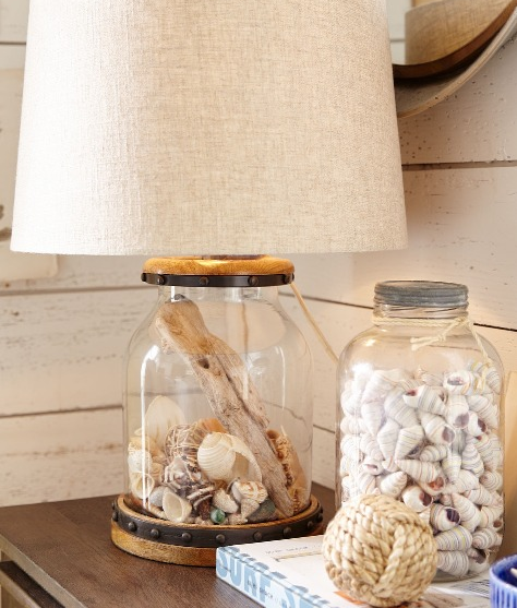 Seashell collection   in fillable lamps from Complete Coastal