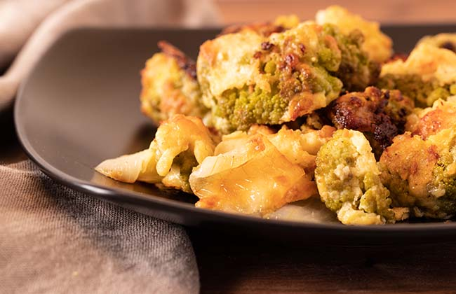 Roasted Green Cauliflower and Parmigiano Reggiano cheese