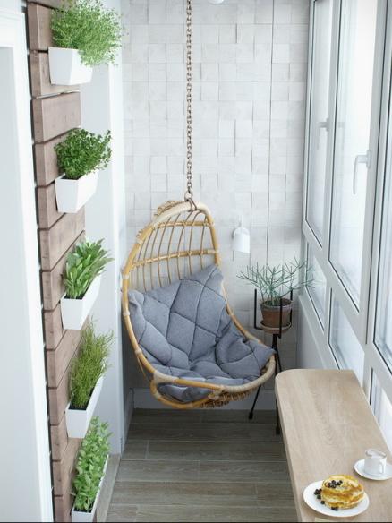 Pod swing on balcony   source