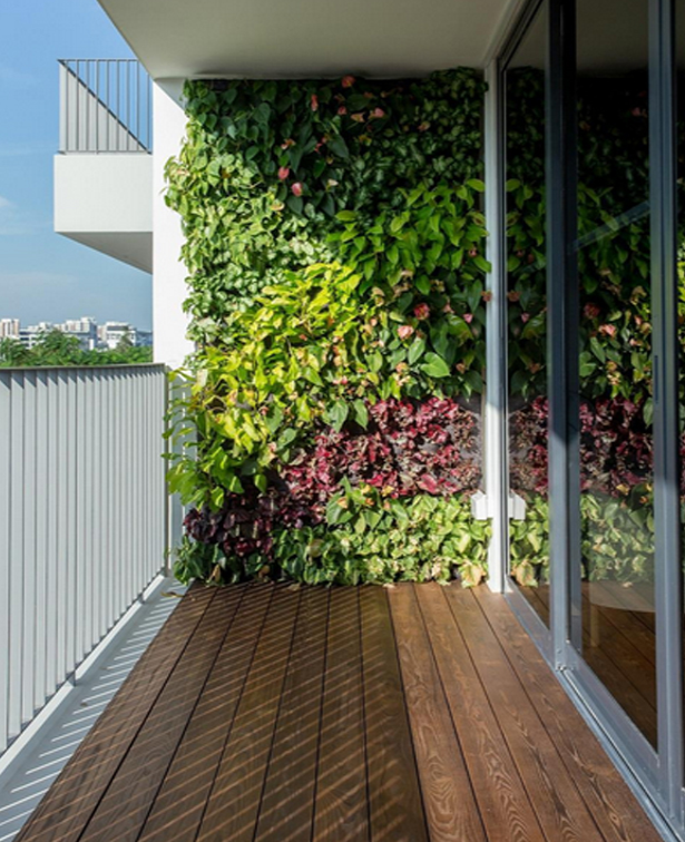 vertical wall garden on balcony  source