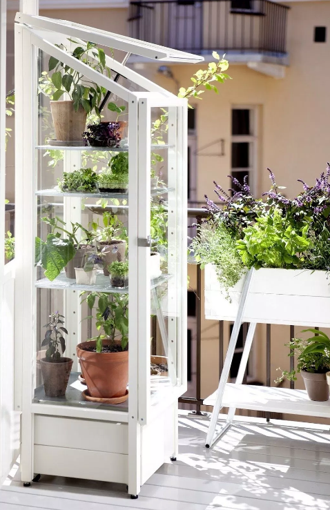 Free standing and upright green house on balcony  source