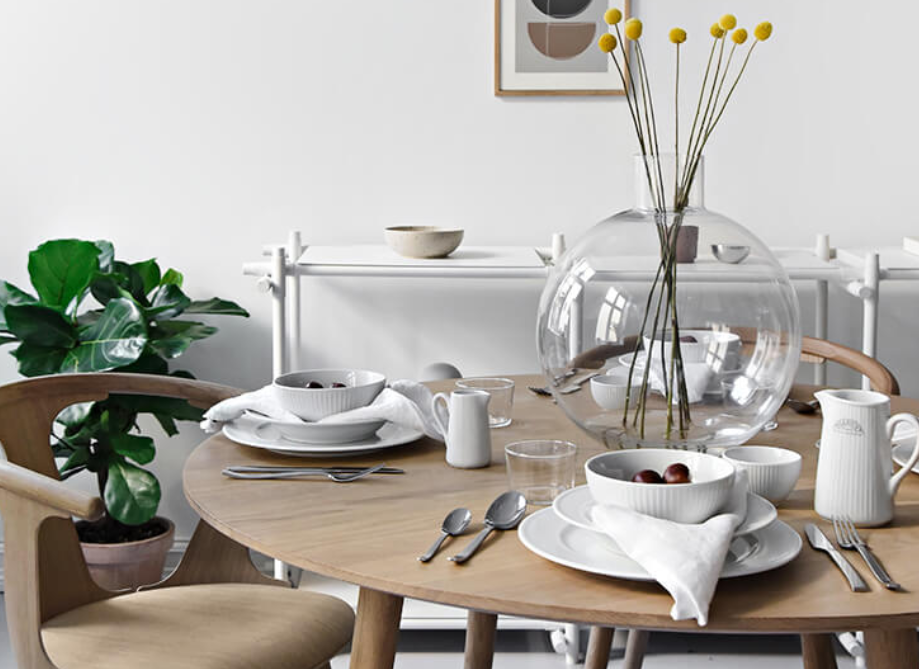 Simply white for a modern Scandinavian table setting source   Nonagon Style