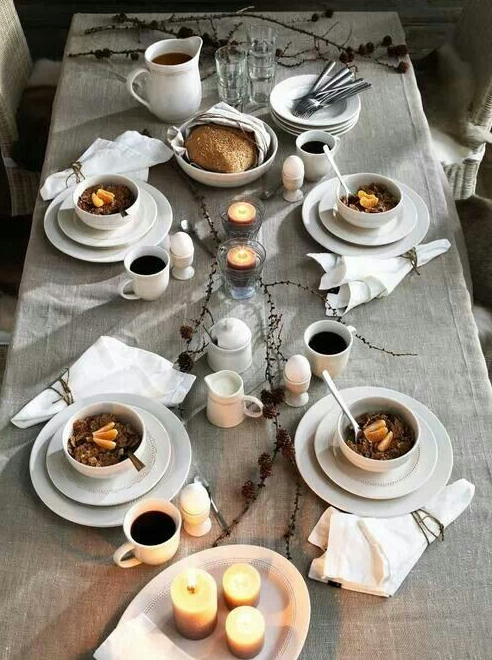 Casual white table setting   source