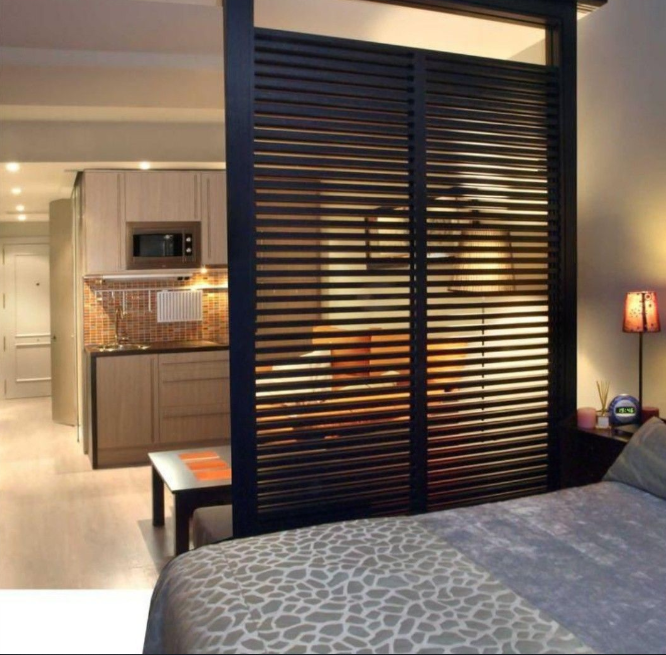Stationary divider screen in studio apartment   source