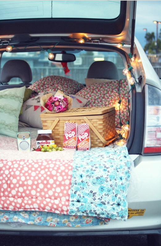 Picnic in a hatch-back car   source