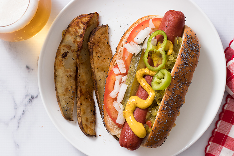 hot dog served Chicago style