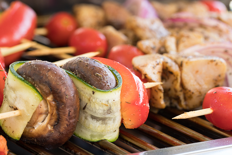 Vegetables on a Skewer - From my photography story about Ladies Grill for Breakfast (But We Ate as Noon). This vegetable skewer, as you can see, includes button mushrooms, zucchini thin slices and red bell peppers. The veggies were tossed well in olive oil, seasoned with salt and pepper, and grilled until tender. Yummy!