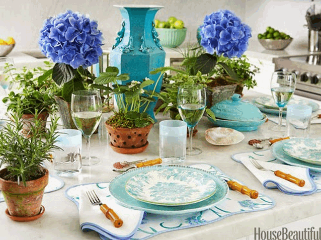 Blue hydrandea plant center piece and herbs by House Beautiful