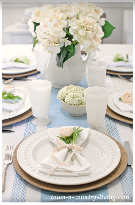 Light blue and white spring/summer table setting  source