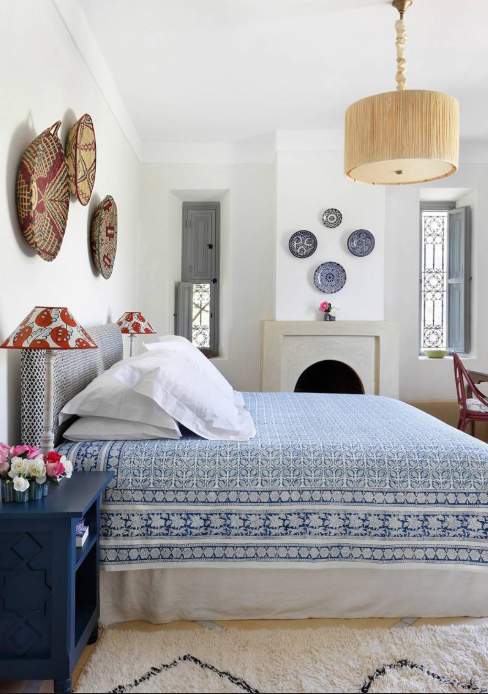 White walls, blue accented bedroom source   House & Garden UK