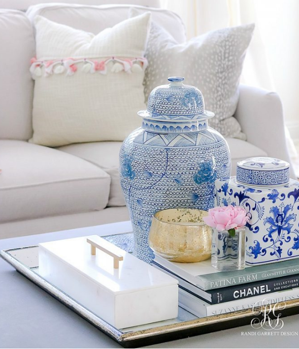 Accenting pair of blue and white ginger jars   source