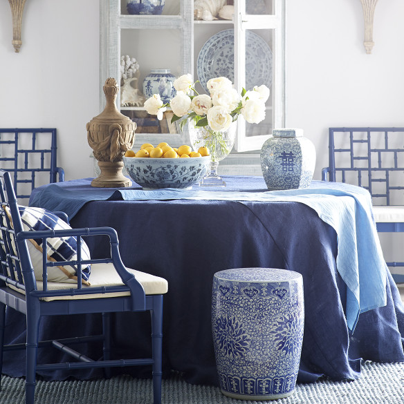 Blue and white dining decor source   Wisteria