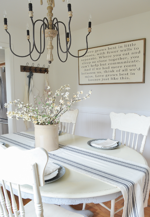 White walls, blue accents for dining area   source